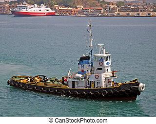 Greek Tugboat - Tugboat in the port of Corfu (Greece)...