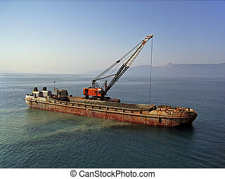 Barge in the port of Corfu (Greece)...