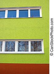 Green facade of a building