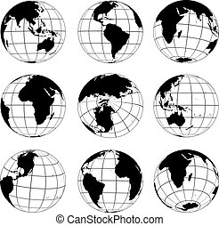 Vector globes various turn