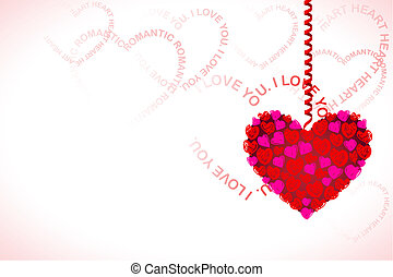 Hanging Heart on Love Card - illustration of heart hanging...