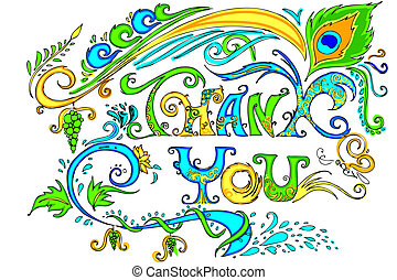 Colorful Thank You Card - illustration of colorful doodle of...