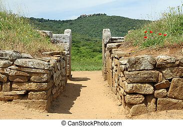 etruscan tomb in Baratti and etruscan Populonia settlement...