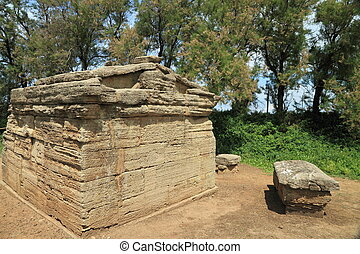antique etruscan tomb - San Cerbone necropolis, Tuscany,...