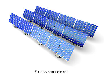 Solar panel farm - 3D rendered Illustration A line of solar...