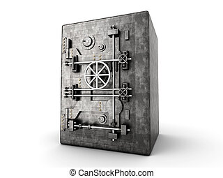 Vault - A bank safe. 3D rendered Illustration. Isolated on...