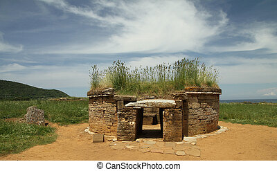 antique etruscan tomb - etruscan tomb, Baratti...