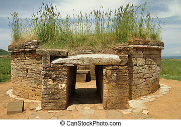 etruscan tomb, Baratti  archaeological  site, Italy