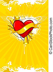 Abstract Love Background - illustration of heart on abstract...
