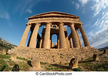 Fisheye view of Concordia temple in Agrigento, Sicily, Italy