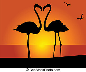 Flamingo Kiss - Silhouette of the flamingo on a background...