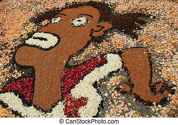 art of flower carpets, Italy, infiorata festival in tuscan...