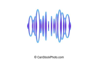 Sound waves - Set of blue pulsating sound waves