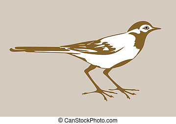 wagtail silhouette on brown background