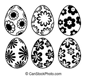 Six Black and White Easter Day Eggs with Floral Designs -...