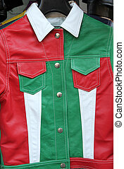 leather jacket in national italian colors, Florence market