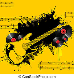Party Tonight - illustration of party poster with guitar and...