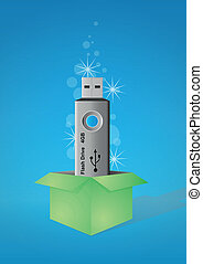 usb pen drive box - illustration of blue pen drive in green...