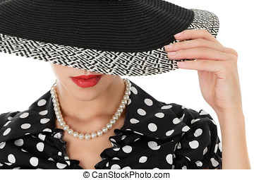 Young woman in hat - Beautiful young woman in sun hat retro...