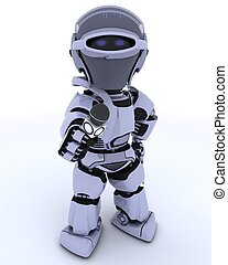Robot with a reporters microphone - 3D render of a Robot...