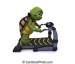 Tortoise running on a treadmill - 3D Render of a Tortoise...