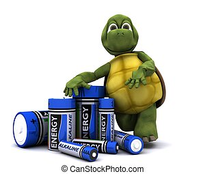 tortoise with batteries - 3D render of a tortoise with...