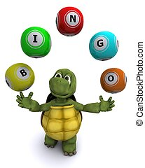 tortoise with bingo balls - 3d render of a tortoise with...