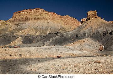 Utah Desert Badlands - Boulders, stones, cliffs and hills of...