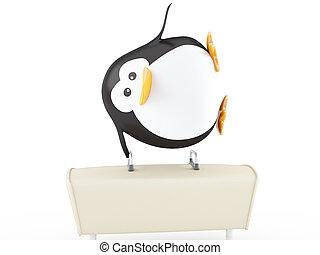 Gymnast - Penguin gymnast performing on pommel horse - 3D...