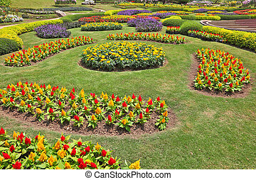 The artly decorated flower beds - Huge picturesque landscape...