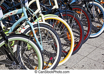bicycle wheels lined up