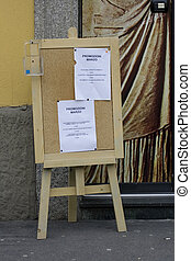 Easel with esthetian promotion in the street