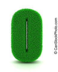 3d Rendering of Grass Number 0 on White Isolated Background.