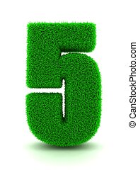 3d Rendering of Grass Number 5 on White Isolated Background.