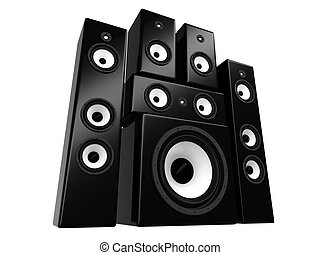 Speakers - Black-white audio speakers isolated on white...
