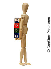 Carrying Your Debts - A mannequin carries his debts around...
