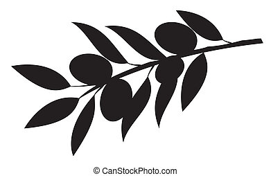 Olive branch - Vector illustration of a silhouette of an...