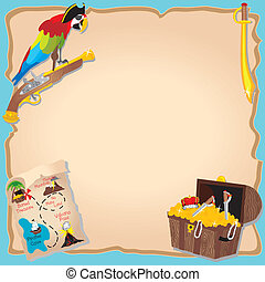 Pirate Birthday Party and treasure hunt Invitation with peg...