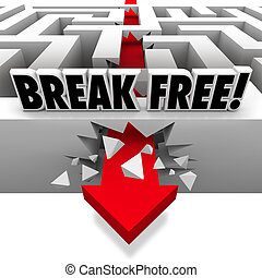 Arrow Breaks Free Through Maze to Freedom - A red arrow...