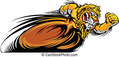 Racing Lion Mascot Graphic Vector I - Speeding Lion Running...