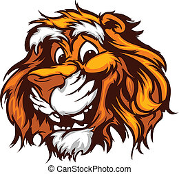 Graphic Vector Image of a Happy Cut - Tiger Head Smiling...