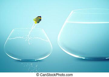 Anglefish jumping into bigger fishbowl.