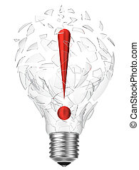 lightbulb idea exclamation point - 3D rendering of lightbulb...