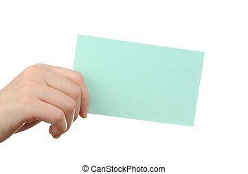 Empty light blue business card in a womans hand