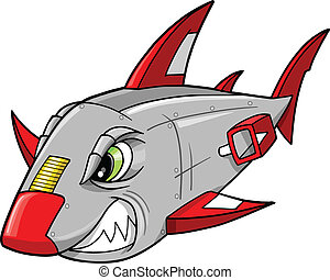 Cyborg Robot Shark Vector Art