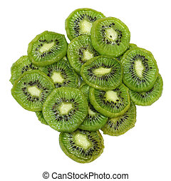 Dehydrated Kiwi - Dehydrated kiwi slices with sugar isolated...