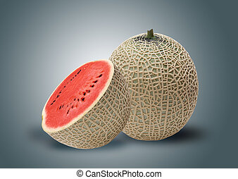 Melon and red water melon inside, ideal for mix fruit juice