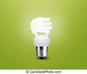glowing Light bulb idea on green background