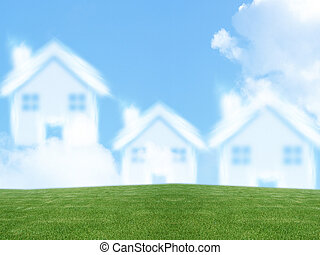 Dream of homeownership - small three house from clouds,...