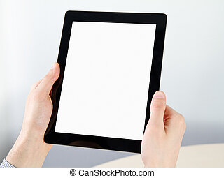 Holding Electronic Tablet PC In Hands - Man hands holding...